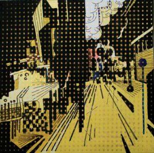 Klaxon- dessin sur toile - 23x23cm - 2011