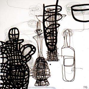 Sans titre, Noir et blanc II - Acrylique sur papier - 50x50cm - 2003