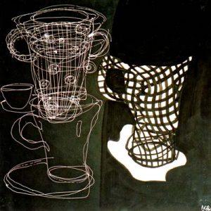 Sans titre, Noir et blanc III - Acrylique sur papier - 50x50cm - 2003