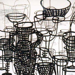 Sans titre, Noir et blanc V - Acrylique sur papier - 50x50cm - 2003