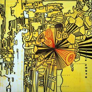 Mental Maps Flight - dessin sur toile - 23x23cm - 2011